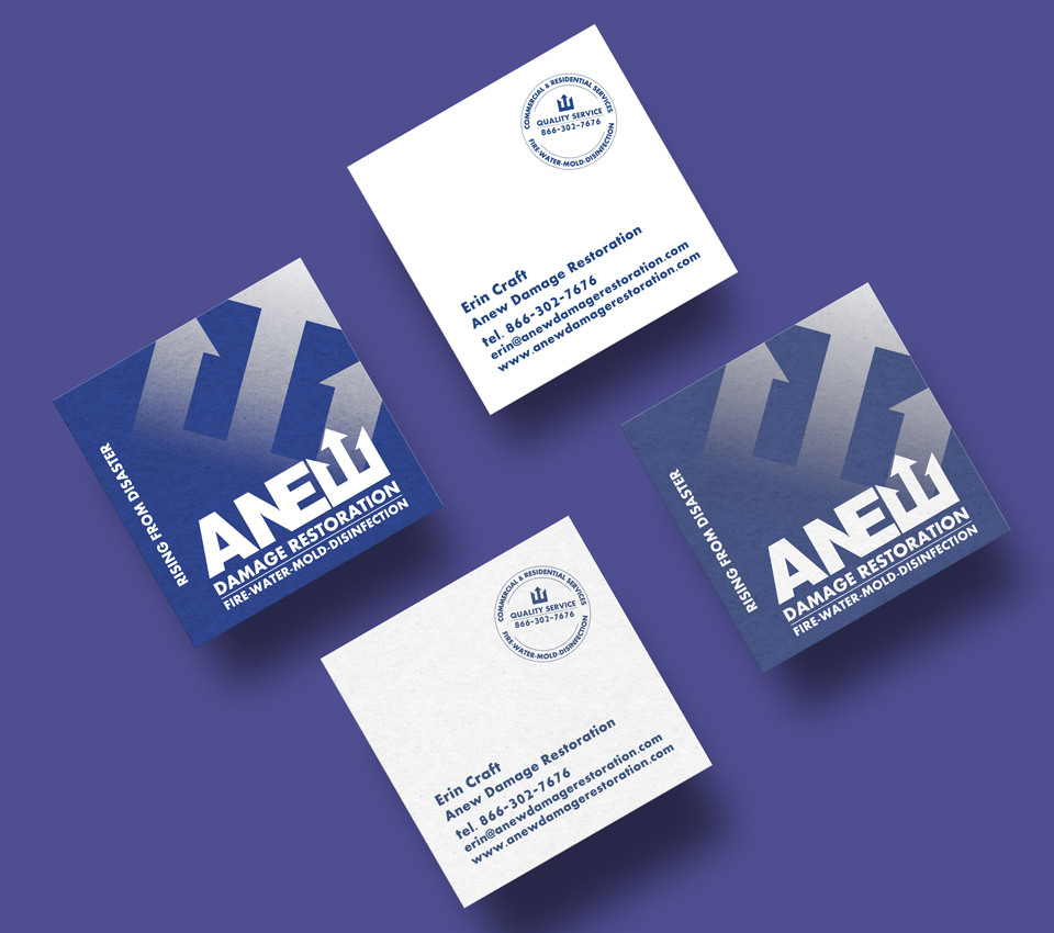 Anew Damage Restoration Business Cards